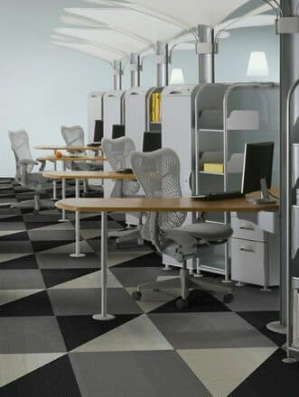 Geometric carpet tiles in an office space