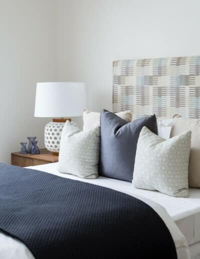 This bedroom is all about the fabric used for the bedhead.