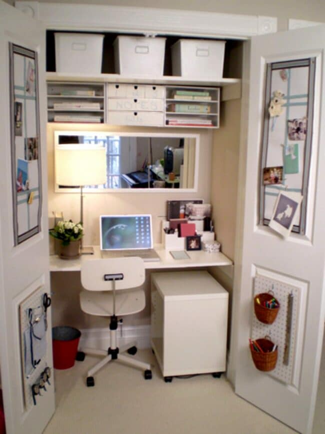Study space created in a cupboard, you can close the doors and no one would know!