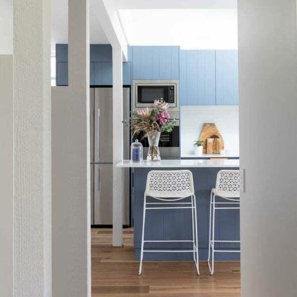 Kitchen bench and stools inside Wahroonga - Anoushka Allum Interior Designer